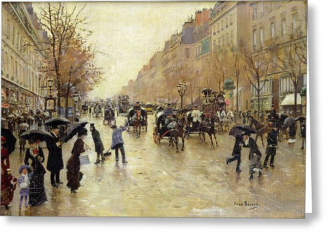 Boulevard Poissonniere In The Rain, C.1885 Oil On Canvas Greeting Card
