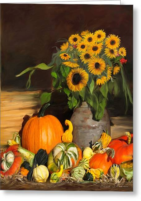 Bountiful Harvest - Floral Painting Greeting Card