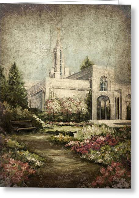 Bountiful Utah Temple-pathway To Heaven Antique Greeting Card