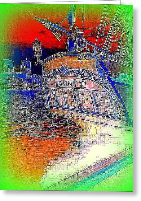 the sailship Bounty in a green frame  Greeting Card