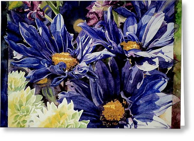Greeting Card featuring the painting Bouquet Blues by Jeffrey S Perrine