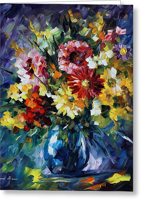 Bouquet Of Love - Palette Knife Oil Painting On Canvas By Leonid Afremov  Greeting Card