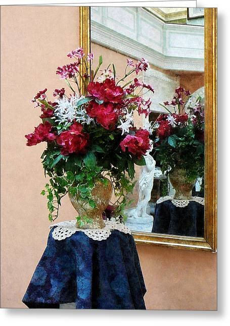 Suburban Greeting Cards - Bouquet of Peonies With Reflection Greeting Card by Susan Savad