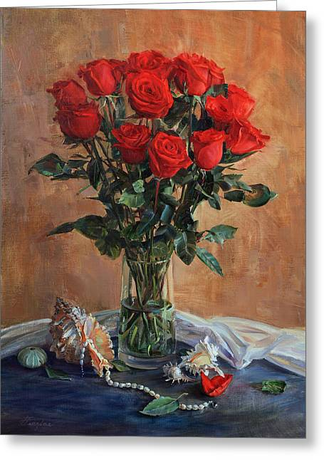 Bouquet Of Red Roses On The Birthday Greeting Card