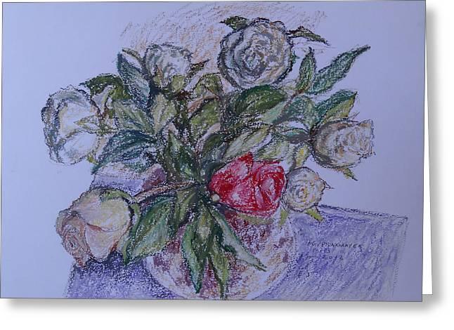 Bouquet Roses Creme Greeting Card by Agnieszka Praxmayer