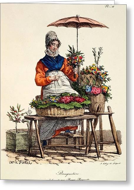 Bouquetiere Des Bouquets Pour Margot Greeting Card by Carle Vernet