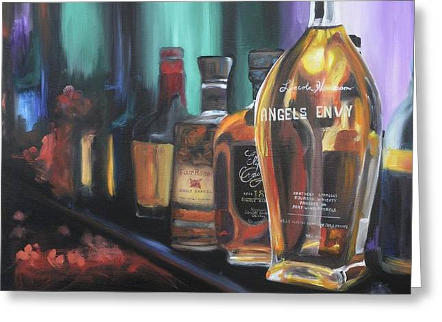 Bourbon Bar Oil Painting Greeting Card