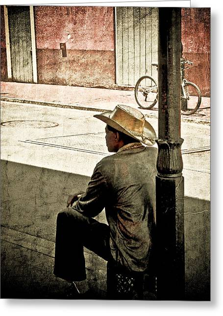 Greeting Card featuring the photograph Bourbon Cowboy In New Orleans by Ray Devlin