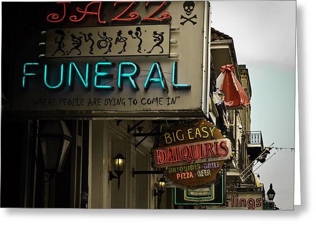 Greeting Card featuring the photograph Bourbon Street Bar Signs In New Orleans by Ray Devlin