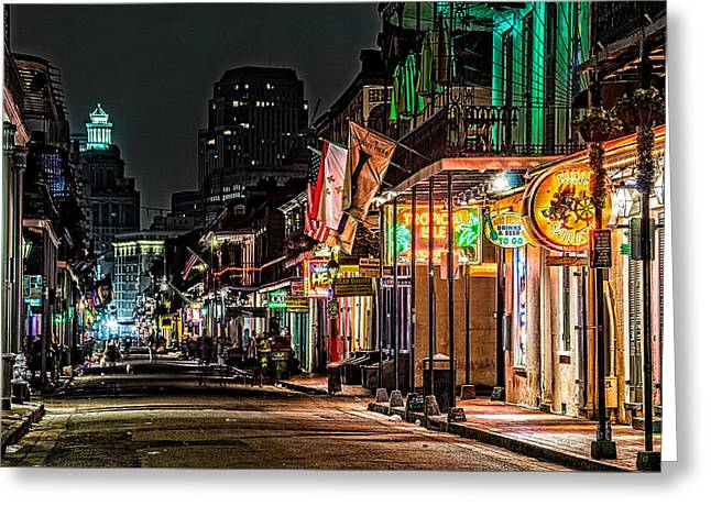 Bourbon Street Glow Greeting Card by Andy Crawford