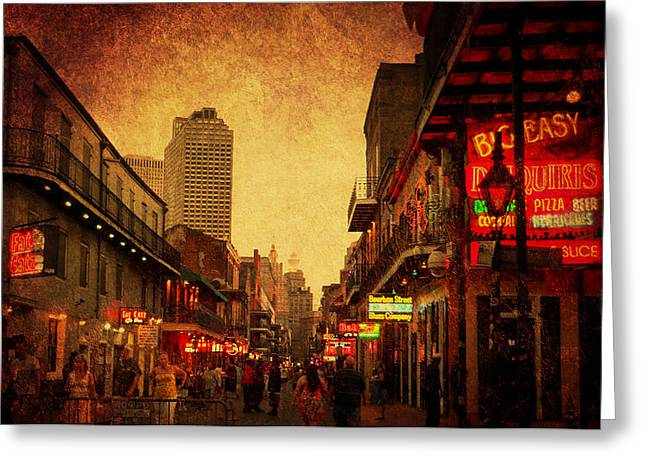 Bourbon Street Grunge Greeting Card by Judy Hall-Folde