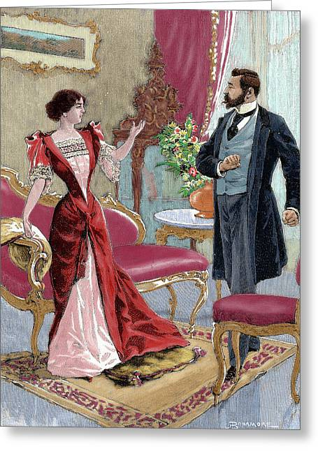 Bourgeoisie Gentleman With A Lady Greeting Card