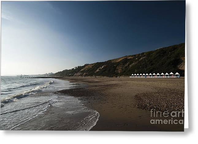Bournemouth Beach Huts Greeting Card by Anne Gilbert