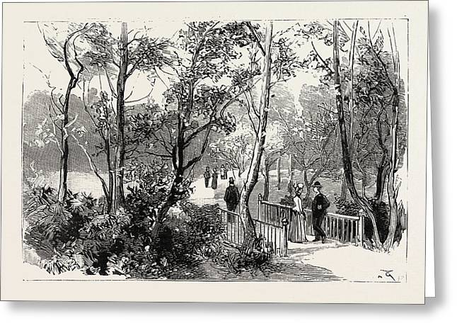 Bournemouth, View In Public Gardens, Engraving 1890, Uk Greeting Card by English School
