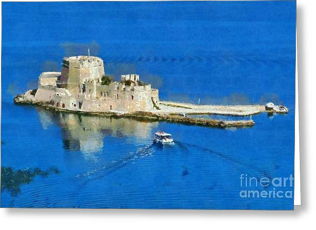 Bourtzi Fortress Greeting Card by George Atsametakis