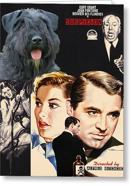 Bouvier Des Flandres - Flanders Cattle Dog Art Canvas Print - Suspicion Movie Poster Greeting Card by Sandra Sij