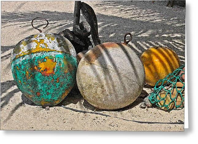 Bouys On The Beach Greeting Card by Kurt Gustafson