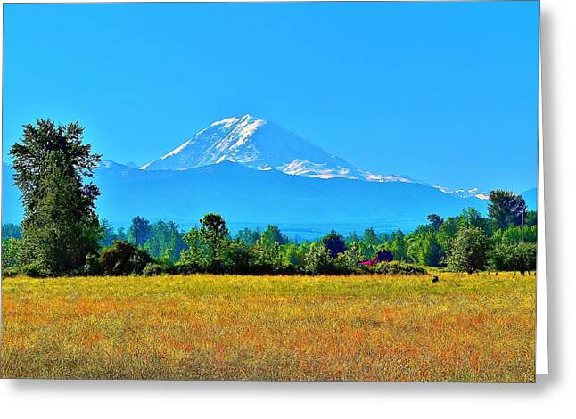 Bovine View Of Mt. Rainier Greeting Card