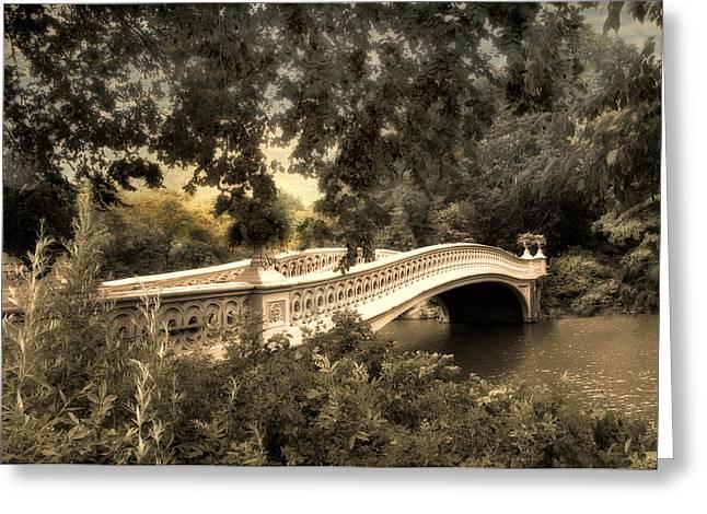 Bow Bridge At Dusk Greeting Card