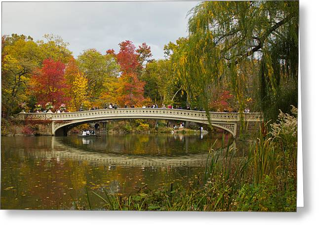 Greeting Card featuring the photograph Bow Bridge Central Park Ny by Jose Oquendo