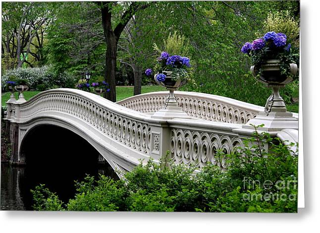 Bow Bridge Flower Pots - Central Park N Y C Greeting Card by Christiane Schulze Art And Photography