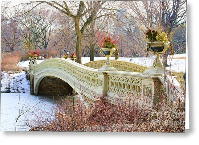 Bow Bridge In Central Park Ny Greeting Card by Paul Ward