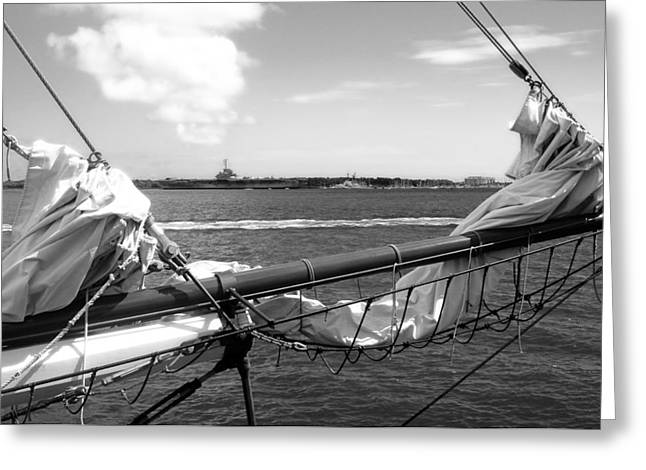 Bow Of A Sailboat Greeting Card by Ellen Tully