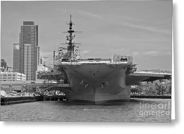 Bow Of The Uss Midway Museum Cv 41 Aircraft Carrier - Black And White Greeting Card