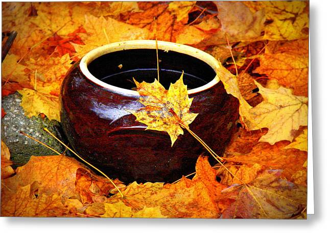 Greeting Card featuring the photograph Bowl And Leaves by Rodney Lee Williams