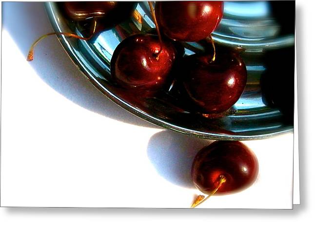 Bowl Of Cherries Greeting Card by Tracy Male