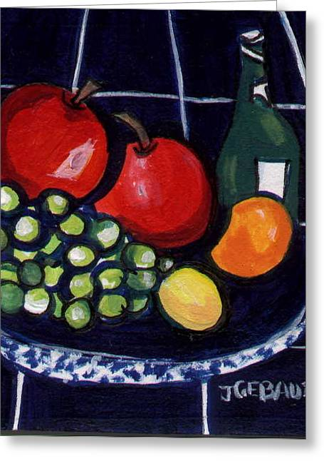 Greeting Card featuring the painting Bowl Of Fruit 1 by Joyce Gebauer