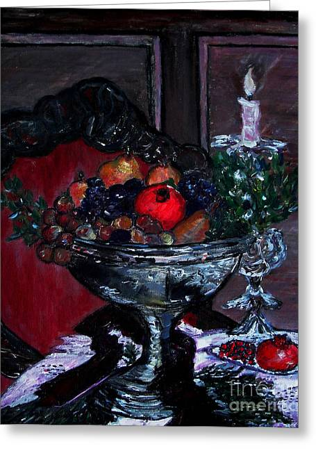 Bowl Of Holiday Passion Greeting Card by Helena Bebirian