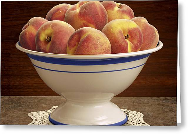 Bowl Of Peaches Greeting Card by Danny Smythe