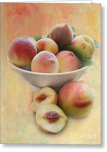 Bowl Of Peaches Greeting Card