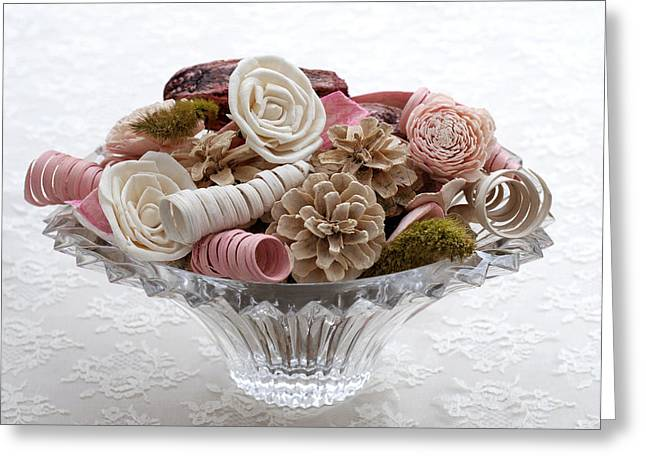 Bowl Of Potpourri On Lace Greeting Card by Connie Fox