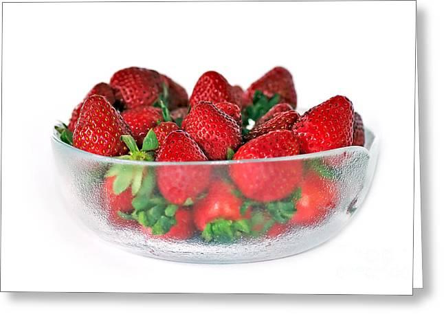 Bowl Of Strawberries Greeting Card by Kaye Menner