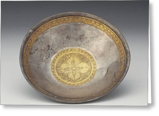 Bowl With Leaf Calyx Medallion Unknown 1st Century B.c Greeting Card