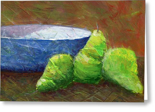 Bowl With Pears Greeting Card by Karyn Robinson