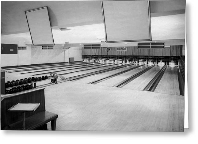 Bowling Alley Interior Greeting Card by Underwood Archives