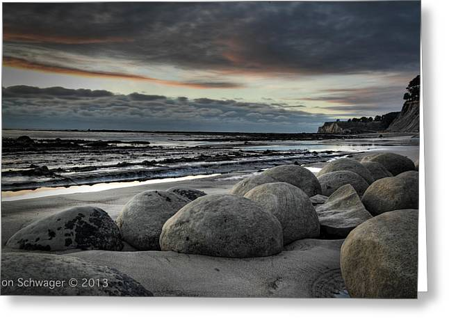 Bowling Ball Beach Greeting Card by Ron Schwager
