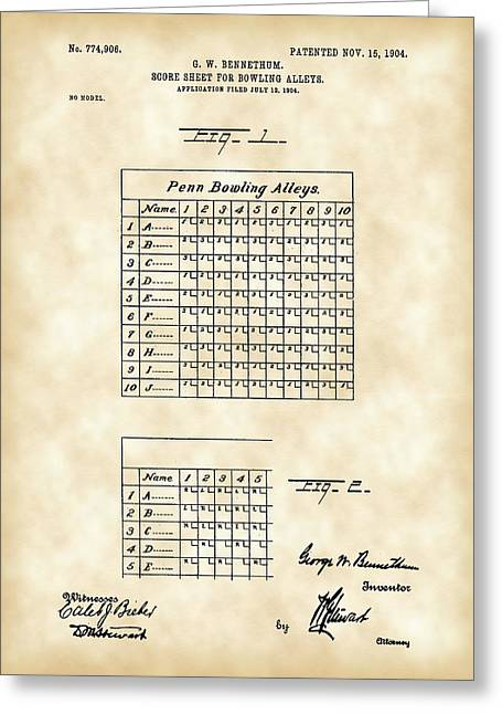 Bowling Score Sheet Patent   Vintage Digital Art By Stephen