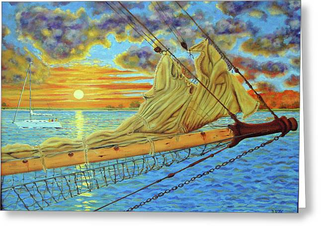 Greeting Card featuring the painting Bowsprit Over The Ashley River by Dwain Ray