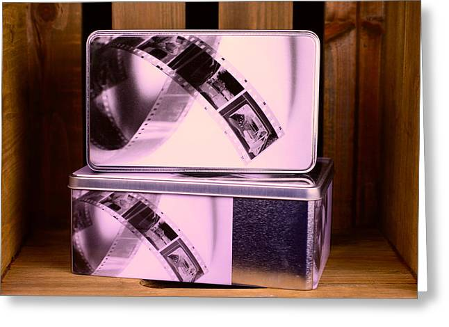 Box With Motifs Of Film Strips Greeting Card