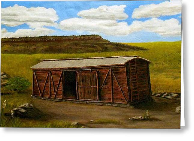 Boxcar On The Plains Greeting Card by Sheri Keith