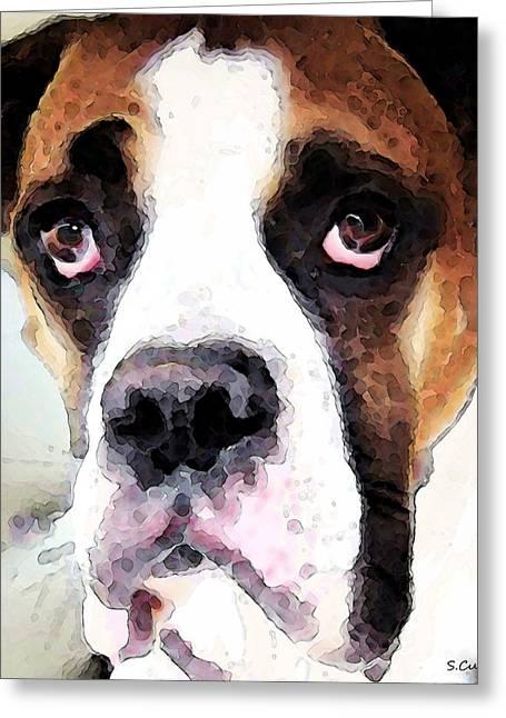 Boxer Art - Sad Eyes Greeting Card by Sharon Cummings