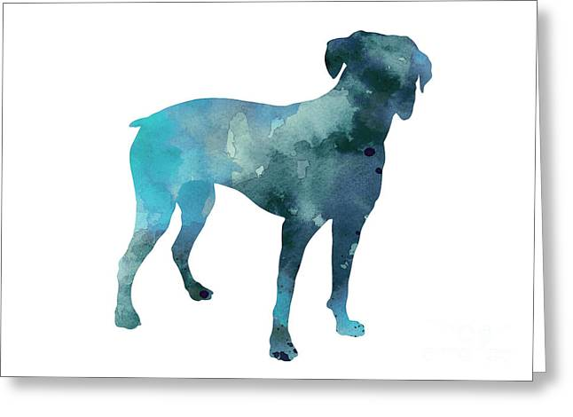 Boxer Art Silhouette Turquoise Print Greeting Card