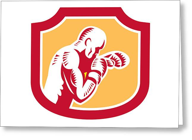 Boxer Boxing Jabbing Punch Side Shield Retro Greeting Card by Aloysius Patrimonio