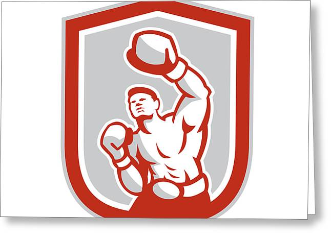 Boxer Boxing Punching Jabbing Circle Retro Greeting Card by Aloysius Patrimonio