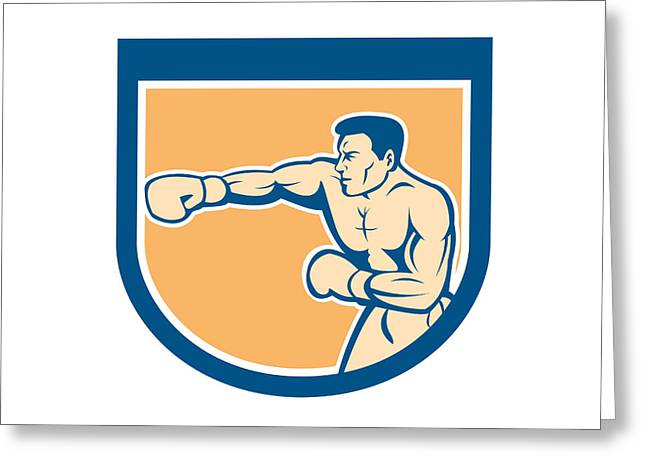 Boxer Boxing Punching Shield Cartoon Greeting Card by Aloysius Patrimonio