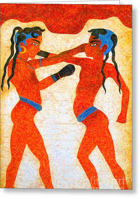 Boxer Boys Painting Greeting Card by Antony McAulay